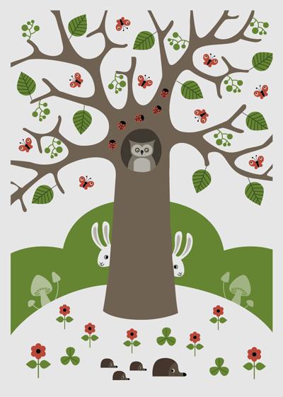 affisch, poster, barn, träd, uggla, kanin