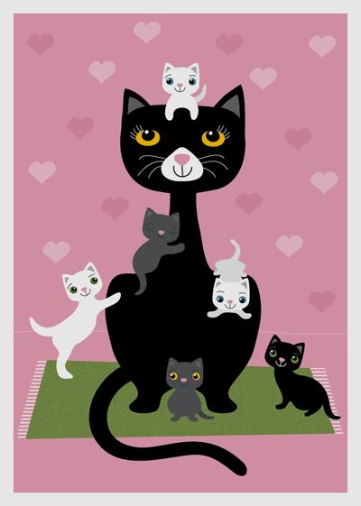 affisch, poster, djur, katt, kattungar, rosa