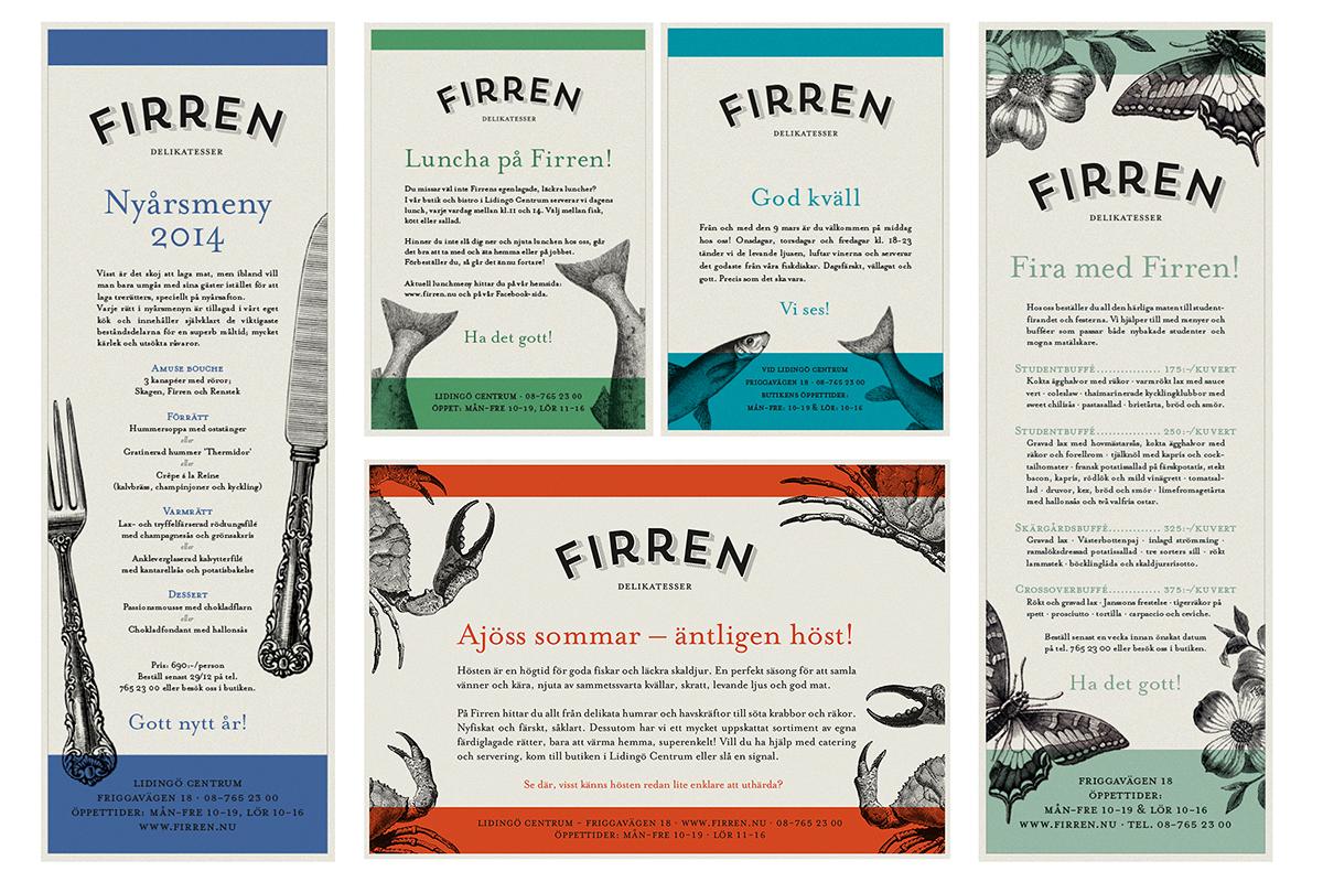 annonser till Firren delikatessbutik restaurang deli catering grafisk designbyrå designer formgivning reklambyrå stockholm lidingö
