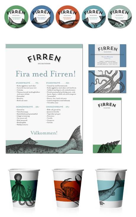 Grafisk profil till delikatessbutiken Firren i design av Astaform