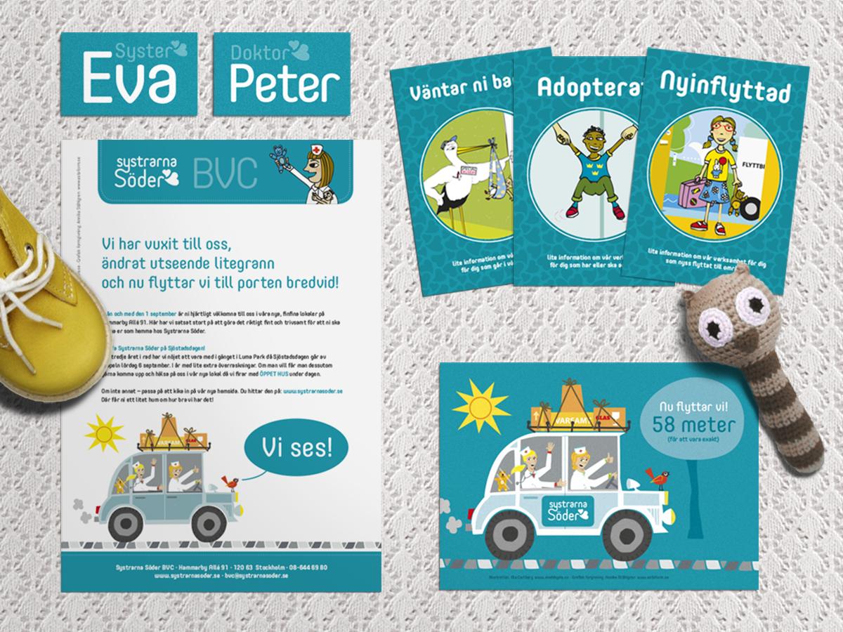 grafisk profil identitet logotyp bvc barn vårdcentral designbyrå reklambyrå stockholm lidingö grafisk formgivning formgivare design