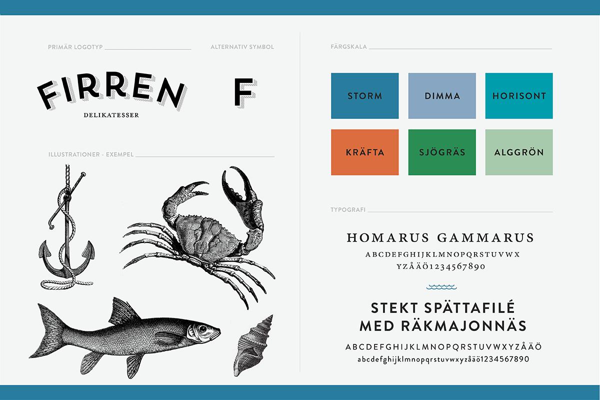 grafisk profil identitet till Firren delikatessbutik restaurang deli catering grafisk designbyrå designer formgivning reklambyrå stockholm lidingö
