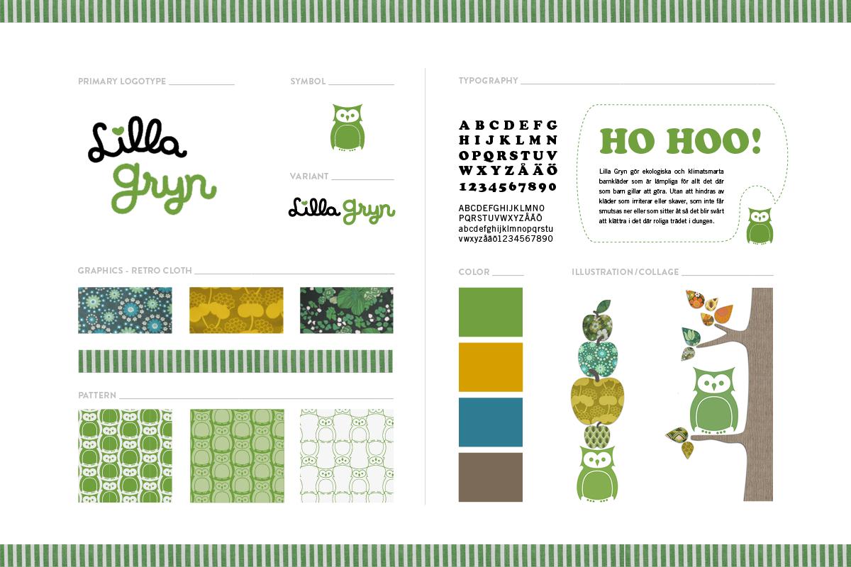 grafisk profil till ekologiska barnklädesmärket Lilla Gryn designbyrå reklambyrå Stockholm Lidingö grafisk designer